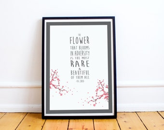 "Mulan Quote Print - ""Flower that blooms in adversity"" Typography Art Print - Mulan - Fa Zhou - Typography Poster - Disney Quote"