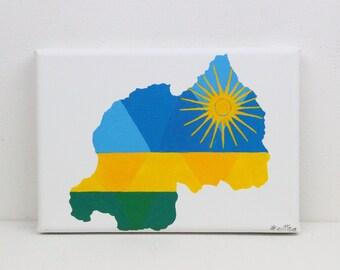 Rwanda Painting, Original Painting, Rwanda, Rwanda Flag, Rwanda Map, Rwandan, Map Wall Art, Map Wall Decor, African Wall Art, Africa Map