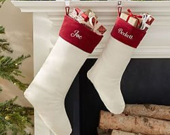 Christmas Stockings Velvet Personalized Monogram Handmade