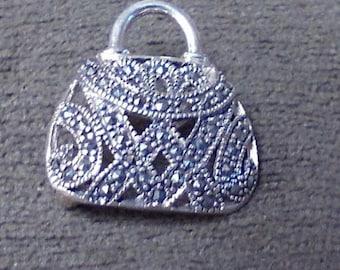 Sterling Silver Filigree Purse Pin Brooch Jewelry Handbag Pin Silver Handbag Pin