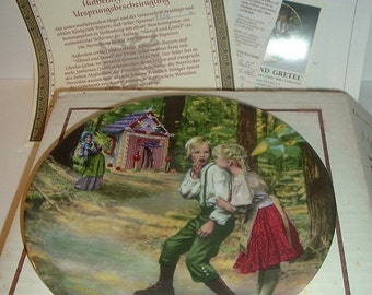 1983 Konigszelt Bayern Grimms Fairy Tales Hansel and Gretel Plate w COA and Box