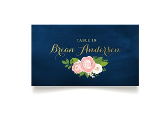 The JENNY . Escort Tent Cards Printed Heavy Paper . Gold Calligraphy Navy Pink Peony White Rose Ranunculus . Name Cards Seating Place Card
