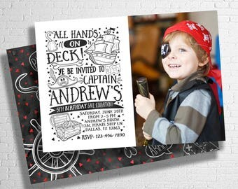 Pirate Birthday Invitation   Boy's Pirate Birthday Invitation   Pirate Theme Birthday   Pirate Party Invite   Pool Party   DIGITAL FILE ONLY