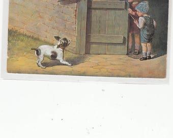 French Bulldog Scares Children At Barn Nice Old Postcard Artist