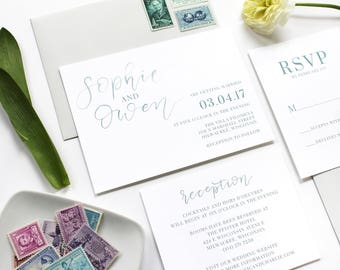 Teal Watercolor Calligraphy Wedding Invitation / Simple / Brush Lettering / Modern / Printable Wedding Invitation / Photo Save the Date
