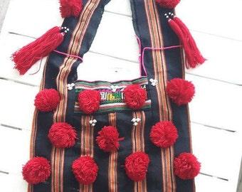 Unique Handmade Hobo Bag/ Tribal Textile Hobo/ Karen Hobo Bag/ Hill Tribe Textile Bag With Pom Pom/ Shoulder Bag/Karen/ Woven Bag/Hippie Bag