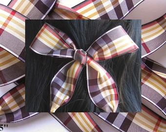 HAIR RIBBON-Brown Plaid Hair Ribbons-Hair Accessories, Hair Bows, Girl's Hair Ribbons, Women's Hair Ribbons, Plaid Hair Ties, Boho Chic