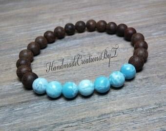 Larimar & Sandalwood Bracelet, Blue, Aqua Gemstone, Wrist Mala, Mens, Womens Chakra Bracelet, Stacking, Fragrant