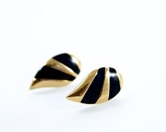 Vintage MONET Signed Gold Tone Black Enamel Stud Earrings Costume Jewelry