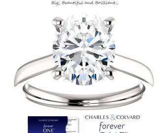 3.00 Carat Oval Moissanite (Forever One) Statement Ring in 14K Gold (with Charles & Colvard authenticity card)