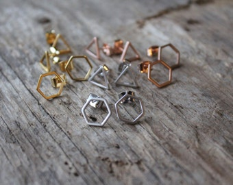 Geometric Stud Earring Sets in Matte Gold, Rose Gold and Silver