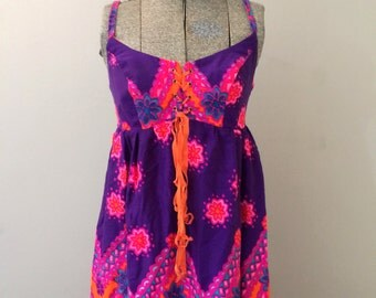 Hawaiian Dress Vintage Maxi Mod 60s
