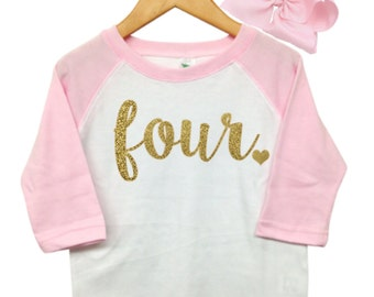 Girls Fourth Birthday Outfit, 4th Birthday Shirt Girl, Pink and gold 4th birthday outfit, Four Shirt, 4th Birthday Girl Outfit,Pink Raglan
