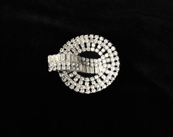 RESERVED: 1950s Large Clear Rhinestone Circle Brooch with Ribbon Design Bride Wedding Bridal Bouquet Resale Wholesale