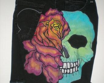 Skull-n-Rose One of a Kind Hand Painted Boho Bad to the Bone Denim Shorts
