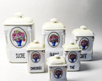 Set of 6 Vintage Porcelain Kitchen Canisters with Lids - Floral Ornament