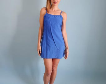 Bright Blue 90s Minimal Mini Dress