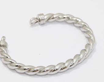 1 Pcs 6mm Silver Brass Gold Bangle , Bracelet Bangle, Cuff Bangle , Rhodium Plated Bracelet, CHK72-3