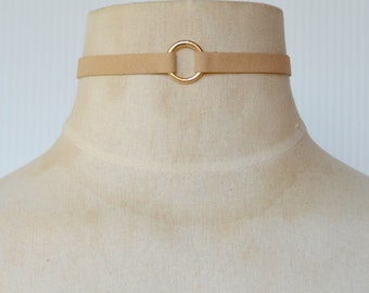 Taupe Suede Choker with Gold Ring