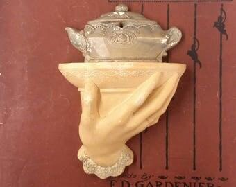 chalkware hand - chalkwarw shelf, teapot, Victorian, rare and collectable, feminine, carnival chalk