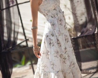 Cream Maxi Dress ,Hippie Urban Evening & Day Summer Dress, Boho Unique Long Carrie Dress, Romantic Flower Cotton Maxi Dress, size S - XL