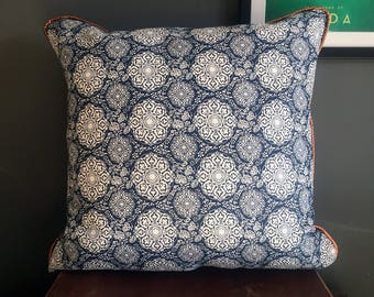 Blue and White Handmade Cushion Cover with Metallic Copper Coloured Piping
