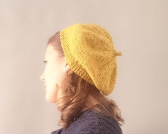 Vintage style Knitted pure wool beret mustard ladies 1940s accessories  1940s beret retro ladies accessories