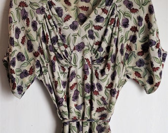 SALE - Incredible 1940s Crepe Floral Sun Dress