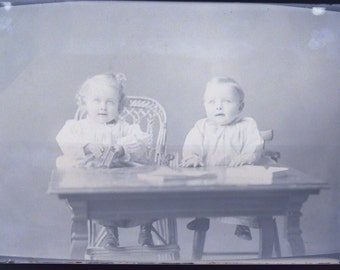 Victorian Toddlers at Table Antique Glass Plate Photo Photograph Negative Instant Ancestor