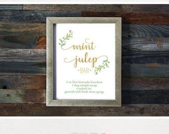 Mint Julep Recipe. Mint Julep Bar Sign. Kentucky Derby Party Sign. Oaks Party. Kentucky Derby Printables. Hostess Gift. DIY.