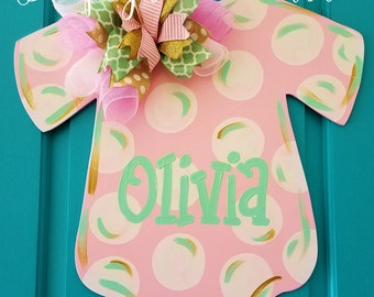 Personalized Baby Onesie Wood Door Hanger from Simply aDOORable makes the perfect Baby Shower or New Baby Gift.  Hospital Door Decoration