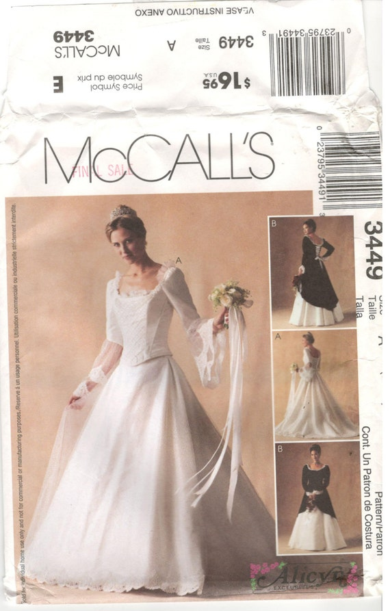Mccall 39 s 3449 size 6 8 10 women corset style bodice for Lace wedding dress patterns to sew