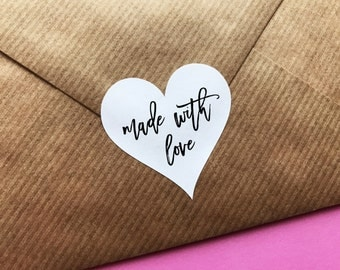 Handmade With Love Sticker, Heart Made With Love Label, Packaging Stickers, Rustic Made With Love, Favor Labels, Gift Wrapping Stickers