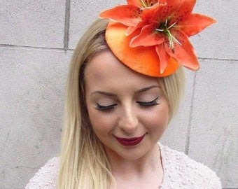 Orange Lily Velvet Fascinator Hat Hair Clip Vintage Races Rockabilly 1950s 2654
