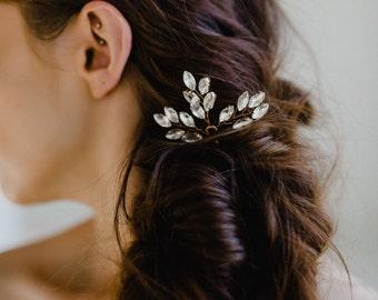 Rose Gold Hair Pin | Bridal Hair Pins | Rose Gold Headpiece | Wedding Hair Combs | Crystal Leaf Hair Pins | Rose Gold Nora Hair Pin