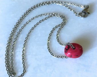 """Red Howlite Nugget Necklace 