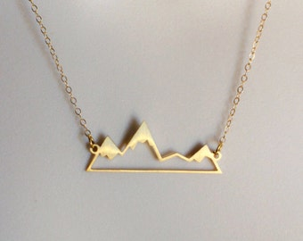 Mountain Necklace, Silhouette Gold or Sterling Silver, Dainty Minimal Nature-Lover Layering Layered Long Necklaces