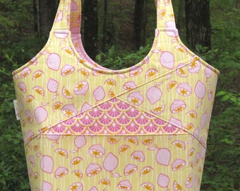"""Stand Up and Tote Notice Bag """"Medium"""" size-Featuring-Pink Lemons on Yellow Background-Pink Lemonade Coordinating Fabrics"""