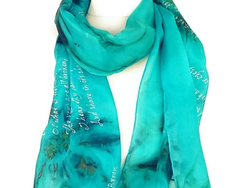 """Poetry Scarf """"She Walks in Beauty"""" by Lord Byron Poetry, Hand Painted Silk Scarf 18X72 inch Gift-Wrapped, READY to Ship Immediately"""