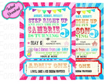 Circus Invitation - INSTANT DOWNLOAD - Pink Circus Carnival & Printable Birthday Invites - fully customized and ready to print