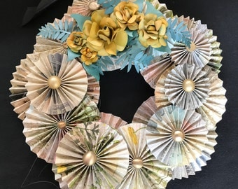 multi-colored special floral paper wreath with gold inked roses