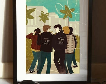 Grease T Birds 1950s Illustration Poster A3