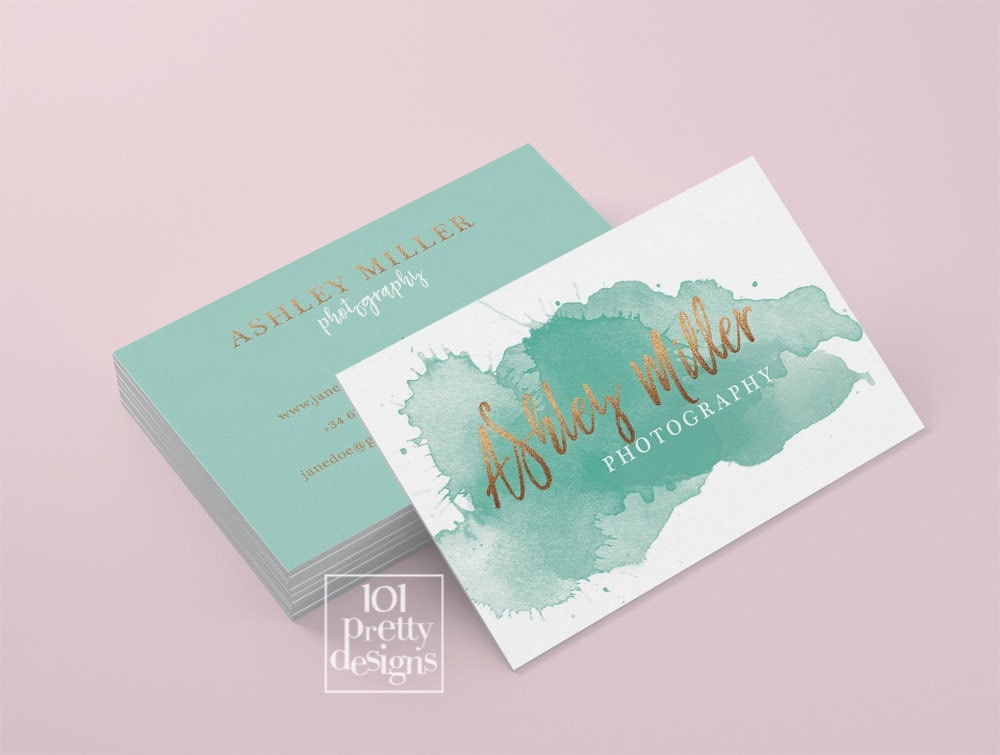Watercolor business card template rose gold printable business