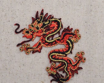 SMALL - Chinese Dragon - Red - LEFT or RIGHT - Embroidered Patch - Iron on Applique - 683056