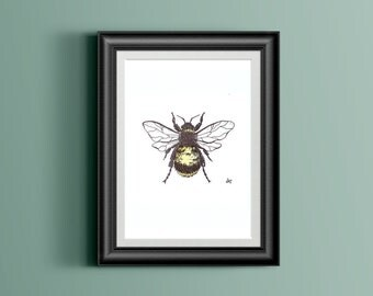 Bee Insect Watercolor - Simple Bold Statement Piece