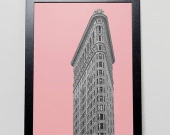 New York City Print Flat Iron Building New York City poster NYC prints architecture posters New York City art printable travel poster