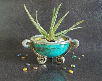 raku pottery planter pot, planter bowl cauldron, pottery bowl, succulent planter, footed planter, decorative planter, flower planter pot