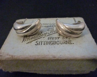 Vintage sterling silver earring studs - 925 - 17 mm x 8 mm