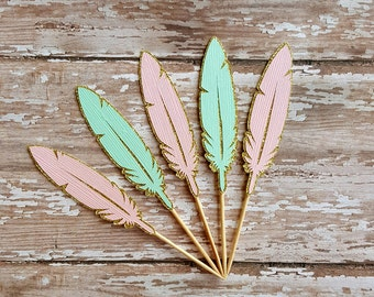 Feather Cupcake Toppers... Young Wild & Three... Mint and Pink... Baby Girl
