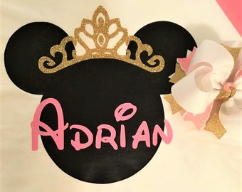 Princess Minnie Disney Raglan Shirt with Name and Add on Hairbow